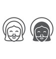 jesus line and glyph icon portrait and christ vector image vector image