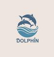 jumping dolphin emblem vector image vector image