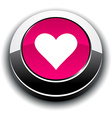 Love 3d round button vector image vector image