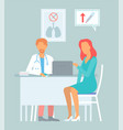 medicine concept with a doctor and patient in vector image