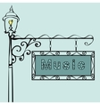 music text on vintage street sign vector image vector image