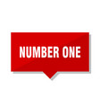 number one red tag vector image vector image