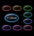 oval frame neon sign halogen led lamp banners vector image vector image