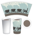 pattern paper cup of tea or coffee vector image vector image