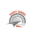road tunnel icon for safety traffic emblem design vector image vector image