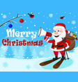 santa claus is skiing with a bag of gifts and a vector image vector image