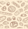 seamless pattern with different breads and backed vector image vector image