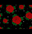 seamless pattern with roses on black background vector image