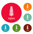 sequoia leaf icons circle set vector image