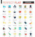 set flat tea coffee alcohol drinks vector image