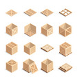 set isometric wooden boxes and pallets vector image vector image