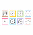 set of colorful square wall clock vector image