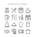 Set of simple icons for kitchen and cooking vector image vector image