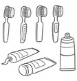 set of tooth care set vector image