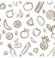 sketch of cute mix fruits and vegetables seamless vector image