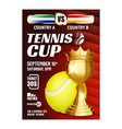 tennis champion win cup bright flyer banner vector image vector image