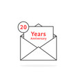 thin line 20 years anniversary logo like open vector image