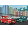 Urban landscape - the modern car on the background vector image vector image