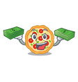 with money bag margherita pizza isolated with the vector image vector image