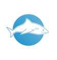 Blue flat logo shark for company business club vector image