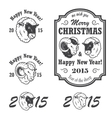 Set of new year and christmas emblems vector image