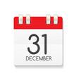 flat calendar icon of 31 december vector image