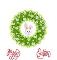 happy easter green wreath of herbs and chamomile vector image