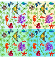 set of seamless patterns of marine life with color vector image