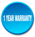 1 year warranty blue round flat isolated push vector image vector image