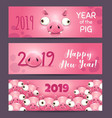 2019 year of the pig funny pink horizontal new vector image