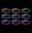 3d neon light sign set on transparent background vector image vector image