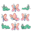 A caterpillar and a butterfly vector image vector image