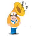 a sailor with a tuba is a funny cartoon character vector image