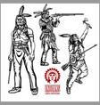 american indians set of vintage emblems labels vector image vector image
