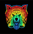 angry wolf headphone colorful vector image