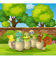 Animals in eggshells in the park vector image vector image