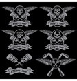 biker theme labels with pistons and skulls with vector image vector image