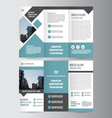 Blue square trifold business Leaflet Brochure set vector image