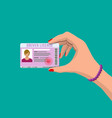 car driver woman license in hand vector image vector image