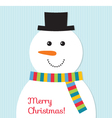 Christmas card with a snowman vector image vector image