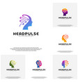 collection head pulse logo head intelligence vector image