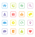 colorful web icon set 1 rounded rectangle frame vector image
