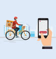 courier on a bike with parcel box on back vector image