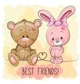 Cute Bear and rabbit vector image vector image