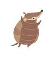 cute happy armadillo pleistocene animal cartoon vector image