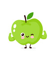 cute strong smiling happy apple vector image vector image