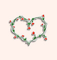flowery bush in the shape of a heart vector image vector image