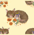 Girl carving pumpkin with cat and bird background