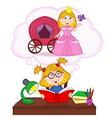 girl dreams of becoming princess vector image vector image