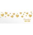 golden hearts frame seamless border vector image vector image